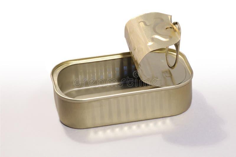 Boîte en fer blanc vide photographie stock
