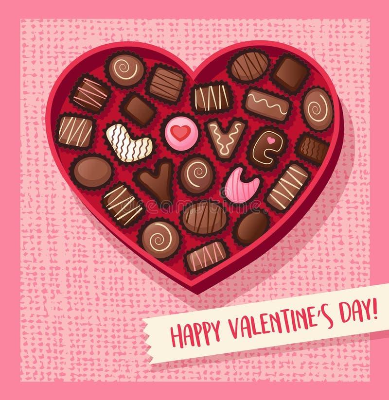 Boîte en forme de coeur à sucrerie de jour de valentines avec des chocolats illustration libre de droits