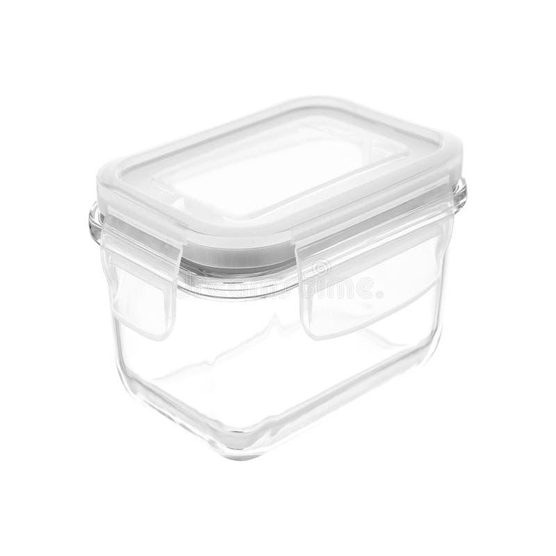 Boîte en plastique à nourriture d'isolement photographie stock libre de droits