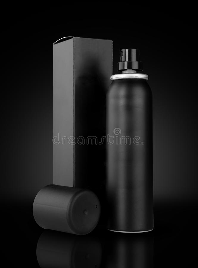 Boîte et boîte de jet noires de désodorisant pour des maquettes image libre de droits