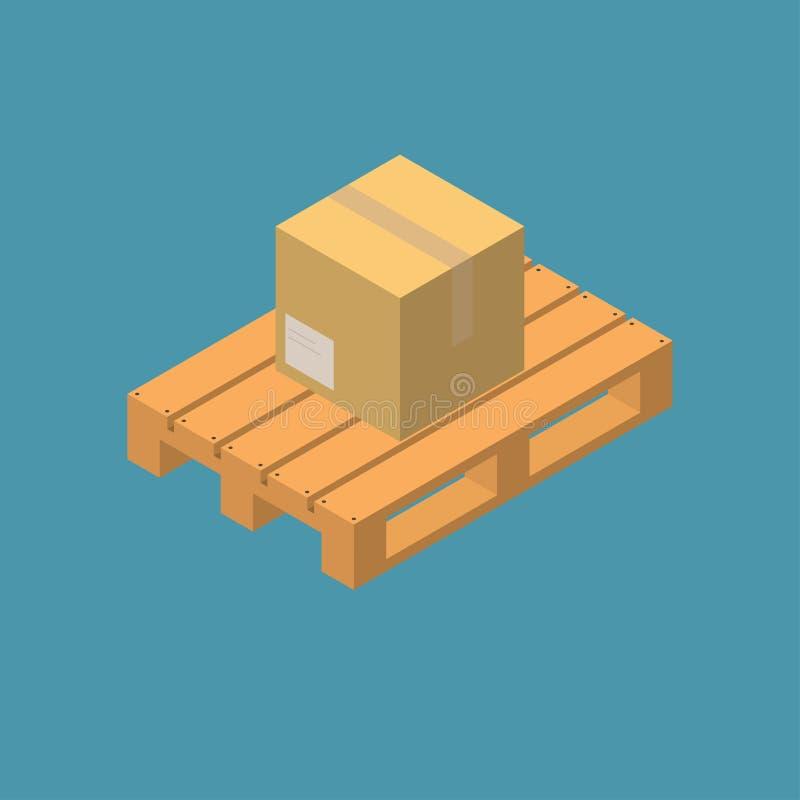 Boîte fermée d'emballage de la livraison de carton sur la palette en bois images stock