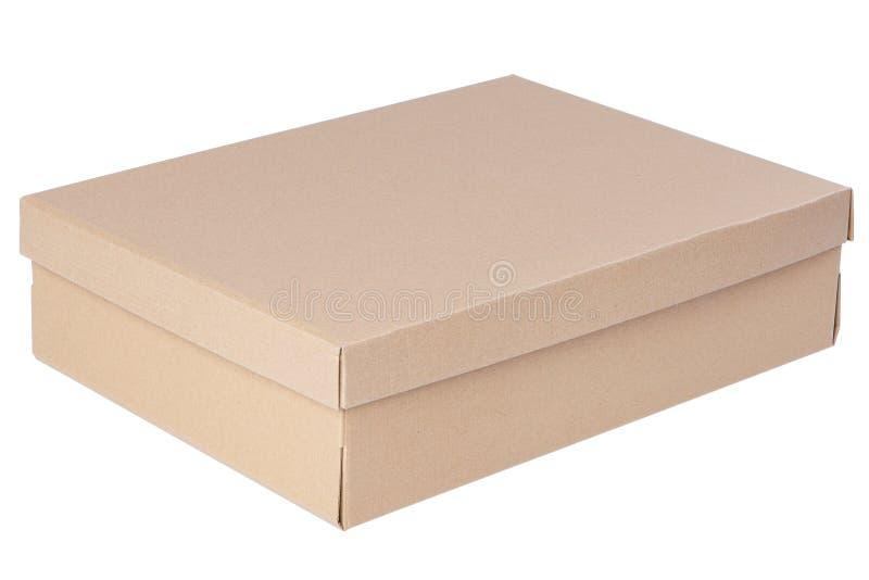 Boîte fermée de carton d'isolement sur le blanc photographie stock libre de droits