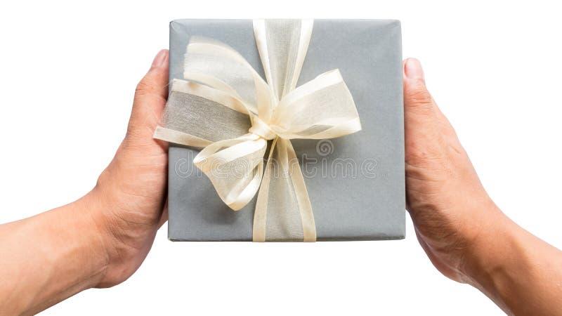 Boîte heureuse de cadeau pour la surprise sur le fond blanc de couleur photographie stock