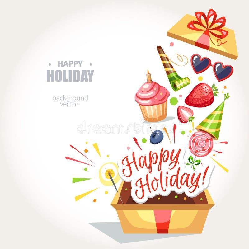 Boîte heureuse de vacances illustration libre de droits