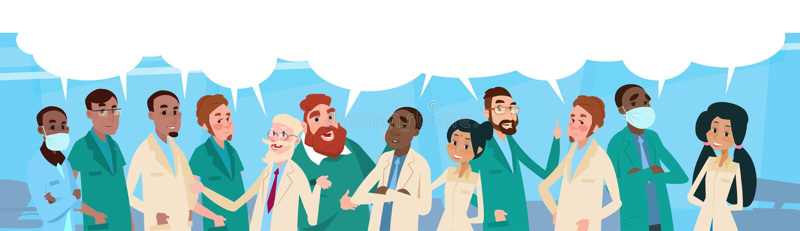 Boîte médiale de médecins Team Hospital Stuff With Chat de groupe illustration de vecteur