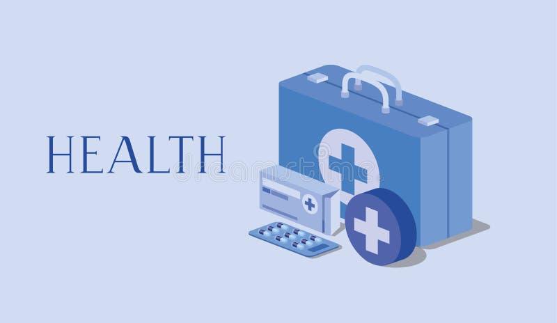 Boîte médicale de pilules de médecine de kit illustration stock