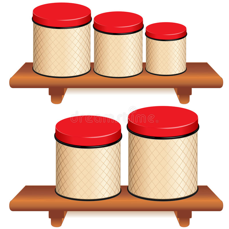 Boîte métallique de cuisine réglée sur les étagères en bois illustration stock