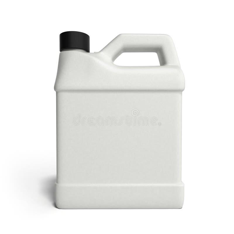 Boîte métallique en plastique blanche pour l'huile de moteur d'isolement sur le backgroun blanc illustration libre de droits