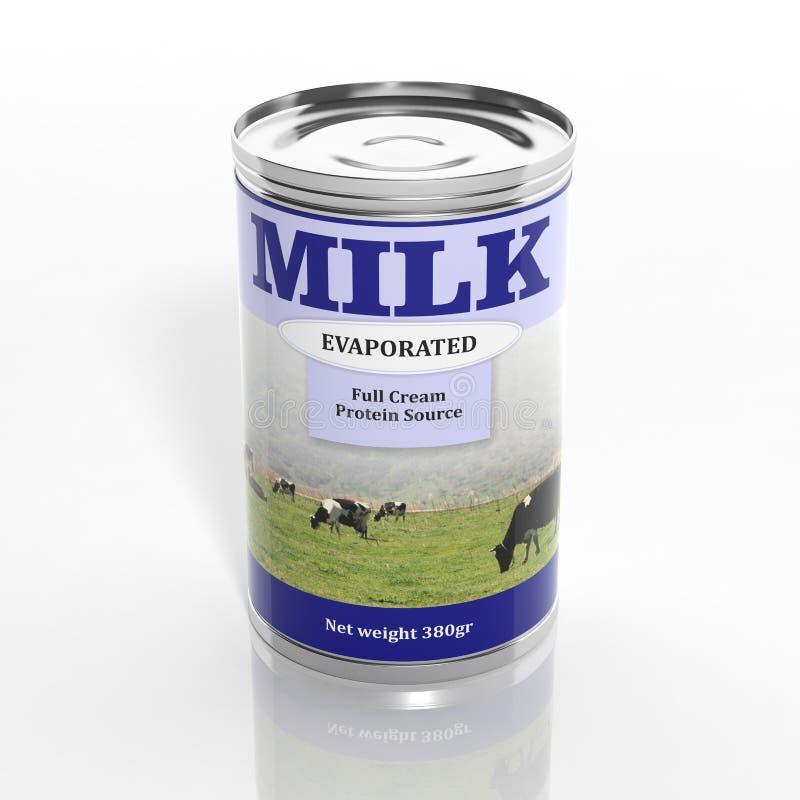 boîte métallique non sucrée par 3D de lait concentré illustration stock