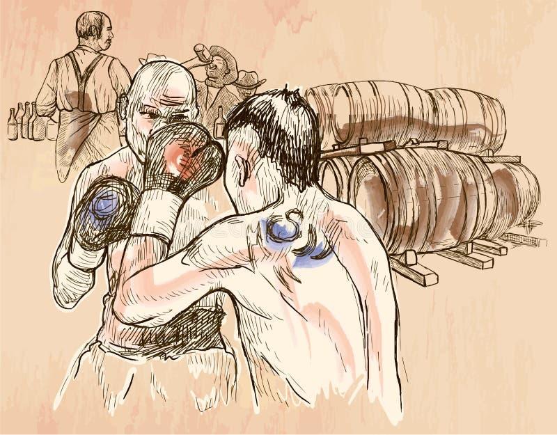 Boîte Match de boxe - un vecteur tiré par la main Schéma illustration stock