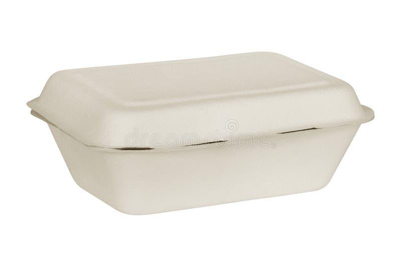 Boîte naturelle à nourriture de fibre d'usine d'isolement sur le fond blanc photographie stock