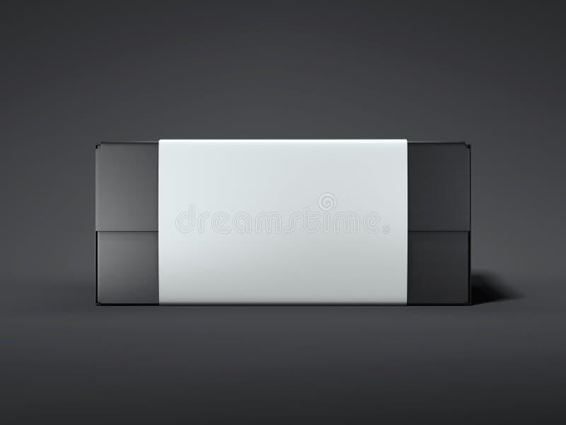 Boîte noire avec l'étiquette blanche rendu 3d illustration stock