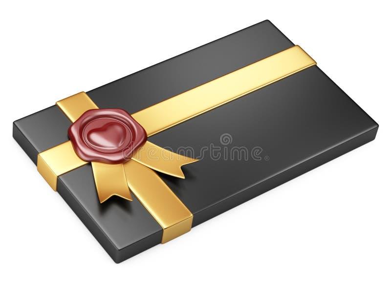 Boîte noire avec le ruban de cire et d'or de cachetage illustration libre de droits