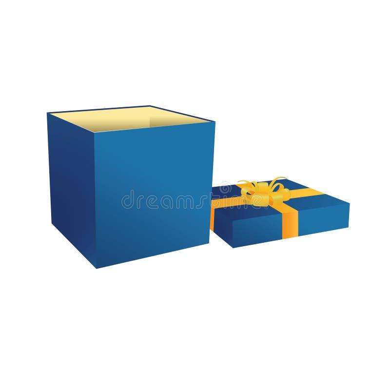 Boîte ouverte bleue de cadeau avec la bande jaune illustration de vecteur