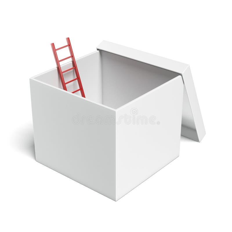 Boîte ouverte par blanc avec l'échelle rouge illustration stock