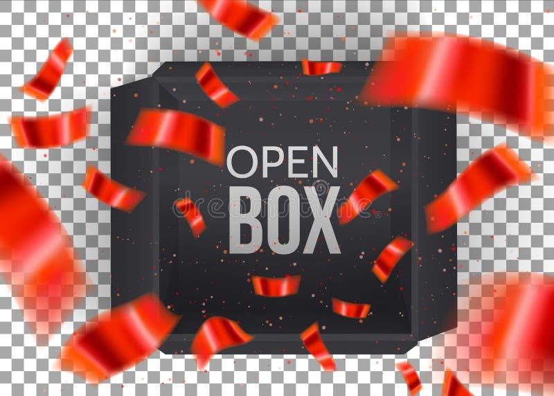 Boîte ouverte vide noire avec les confettis rouges en baisse d'isolement sur le fond transperent Cadre de cadeau noir Vue sup?rie illustration de vecteur