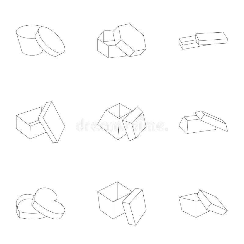 Boîte, paquet, emballage, et toute autre icône de Web dans le style d'ensemble Shell, cadre, boxe, icônes dans la collection d'en illustration stock