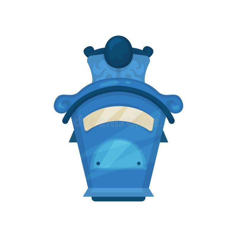 Boîte postale bleue lumineuse classique Boîte aux lettres métallique fixée au mur de vintage Élément plat de vecteur pour le livr illustration de vecteur