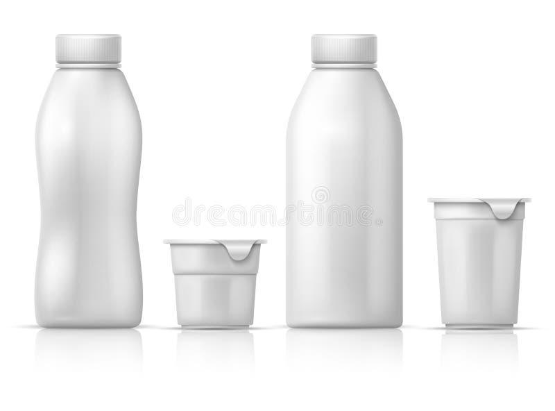 Boîte, récipient et bouteilles en plastique ronds vides blancs de yaourt Maquette d'emballage de vecteur pour les produits laitie illustration de vecteur