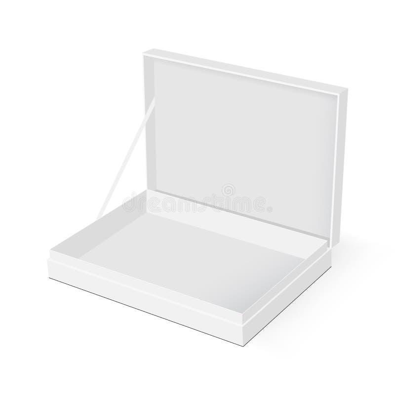 Boîte rectangulaire vide avec la maquette ouverte de couvercle illustration stock