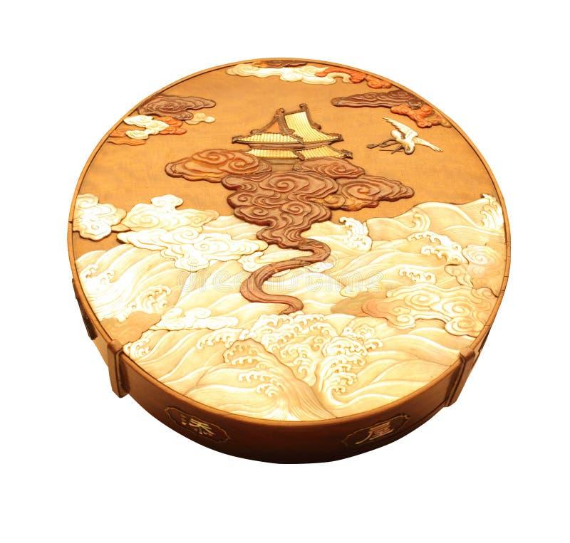 Boîte ronde de bois de santal marquetée image libre de droits