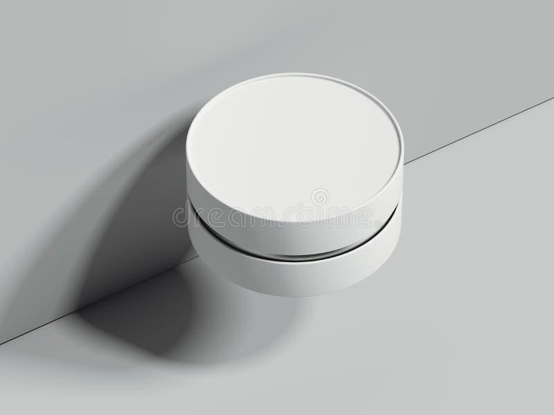 Boîte ronde réaliste blanche à côté du mur gris rendu 3d illustration libre de droits
