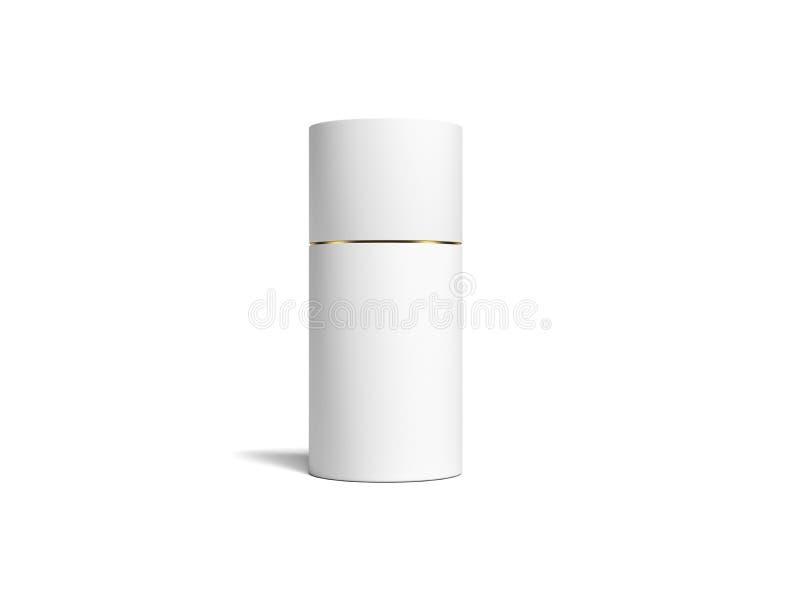Boîte ronde réaliste blanche sur le fond blanc rendu 3d illustration de vecteur