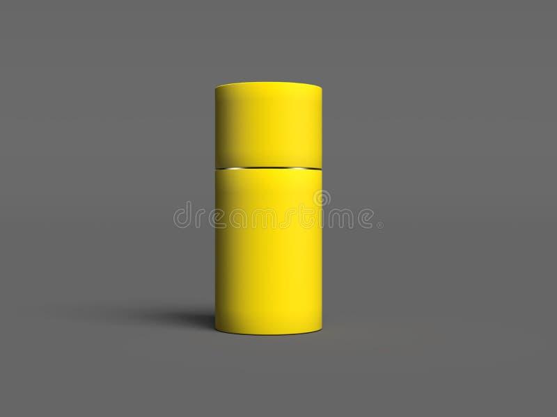 Boîte ronde réaliste jaune sur le fond gris rendu 3d illustration stock