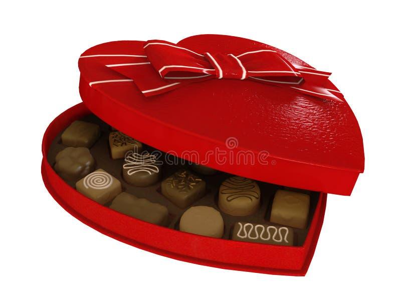 Boîte rouge à chocolats de sucrerie de coeur image libre de droits