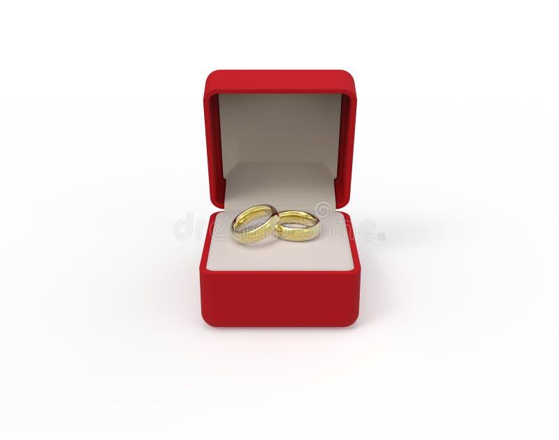 Boîte rouge avec deux anneaux d'or d'engagement sur un fond blanc 3d illustration de vecteur