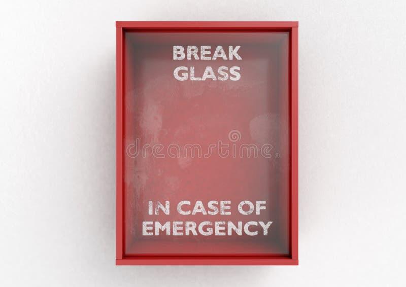Boîte rouge de coupure en cas d'urgence illustration libre de droits