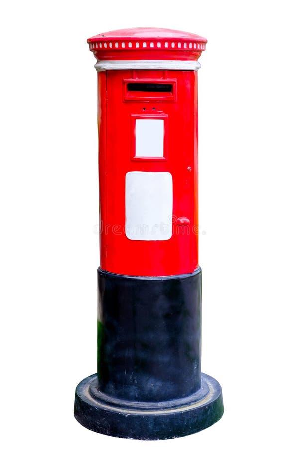 Boîte rouge de courrier d'isolement sur le blanc photos libres de droits