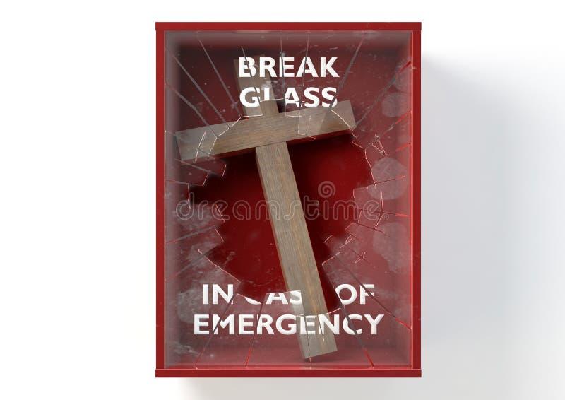 Boîte rouge de secours avec le crucifix illustration libre de droits