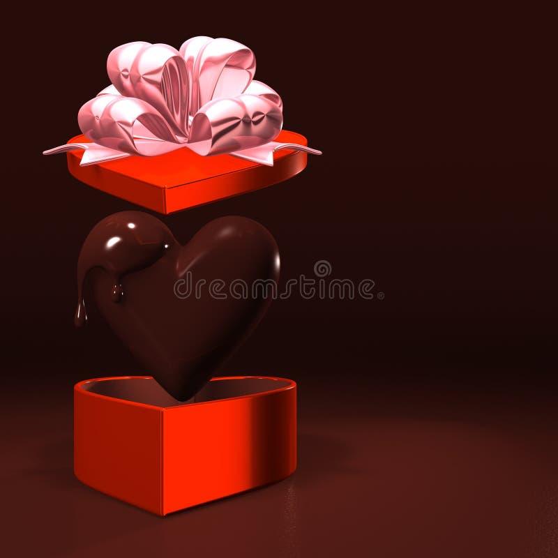 Boîte rouge en forme de coeur et chocolat avec l'espace des textes illustration stock