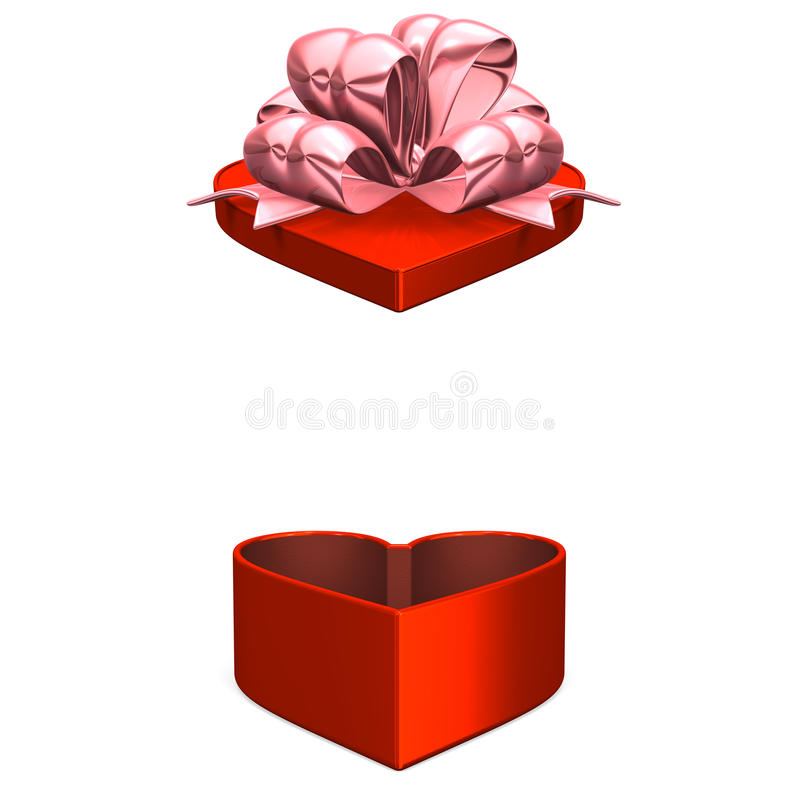 Boîte rouge en forme de coeur que le couvercle saute  illustration libre de droits