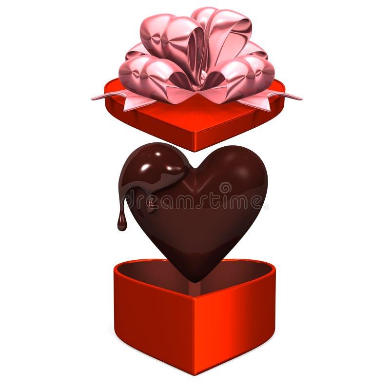 Boîte rouge en forme de coeur que le couvercle saute avec du chocolat illustration stock