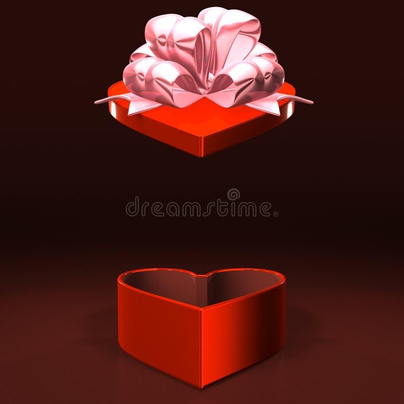 Boîte rouge en forme de coeur que le couvercle saute avec l'espace des textes illustration stock