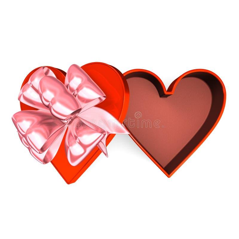 Boîte rouge en forme de coeur qui est vue supérieure ouverte illustration libre de droits