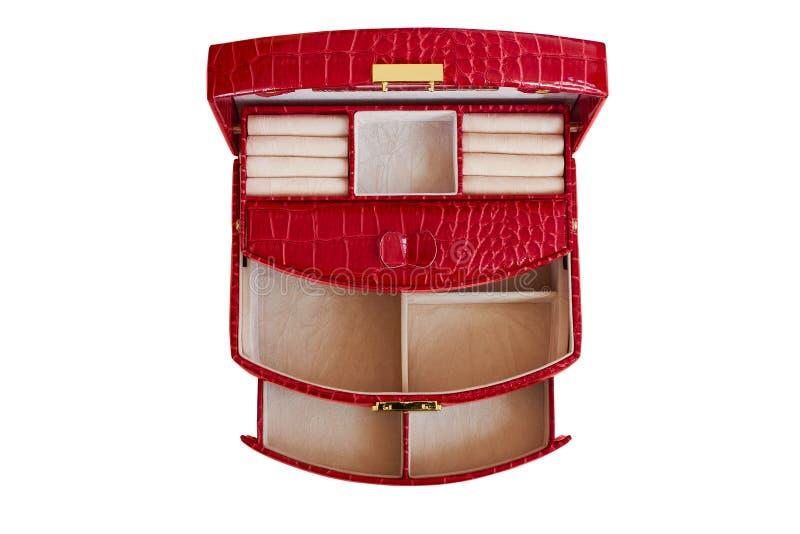 Boîte rouge pour bijoux féminins en cuir artificiel. Corbeille avec beaucoup de compartiments photo stock