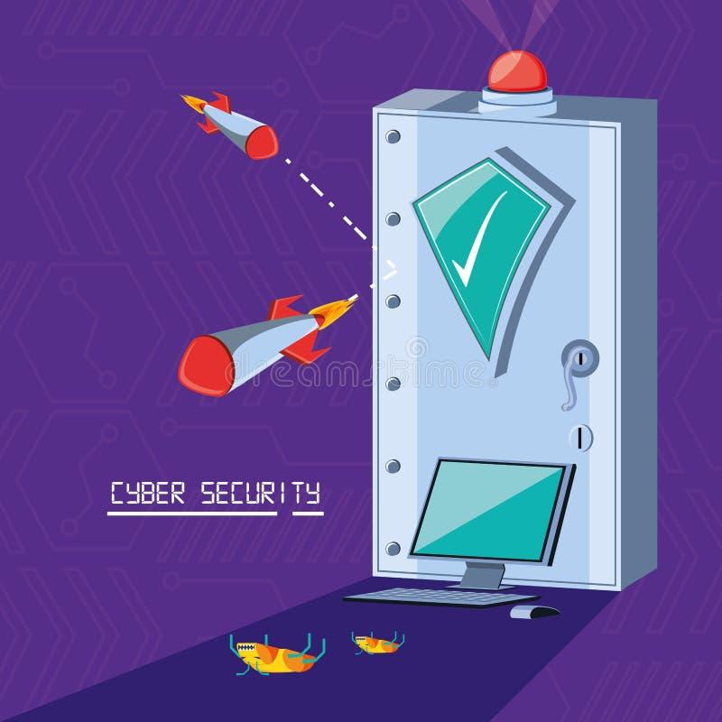 Boîte sûre avec la sécurité réglée de cyber d'icônes illustration libre de droits