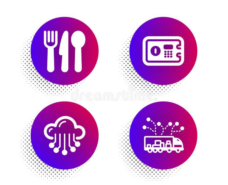 Boîte sûre, stockage de nuage et ensemble d'icônes de nourriture Signe de la livraison de camion Dépôt, service de données, couve illustration libre de droits