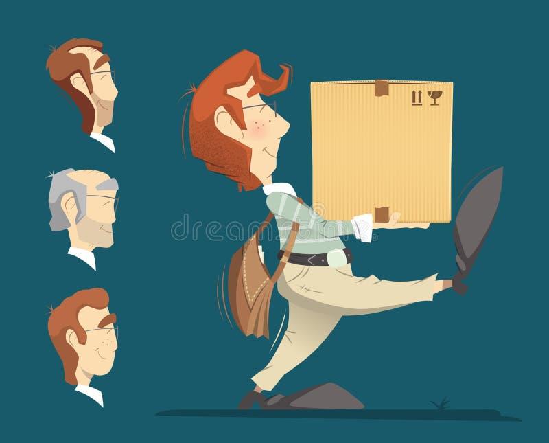 Boîte se tenante et de transport en facteur de messager de carton en carton illustration de vecteur