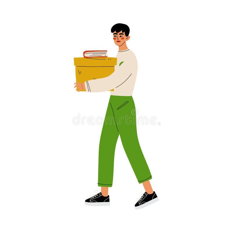 Boîte se tenante volontaire masculine de donation, offrir, charité et illustration de soutien de vecteur illustration libre de droits