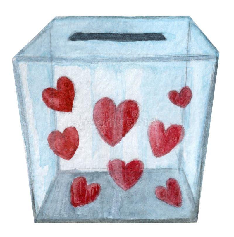 Boîte transparente complètement de coeurs pour la donation illustration stock