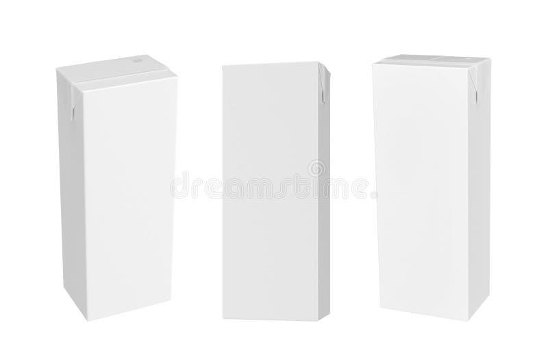 Boîte vide blanche à lait d'isolement sur le fond blanc illustration de vecteur