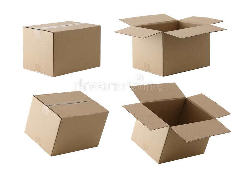 Boîte vide de colis photographie stock