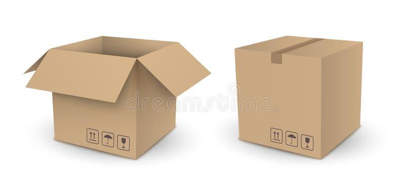 Boîte vide de paquet de cube brun en vecteur ouverte et fermé d'isolement dessus illustration libre de droits