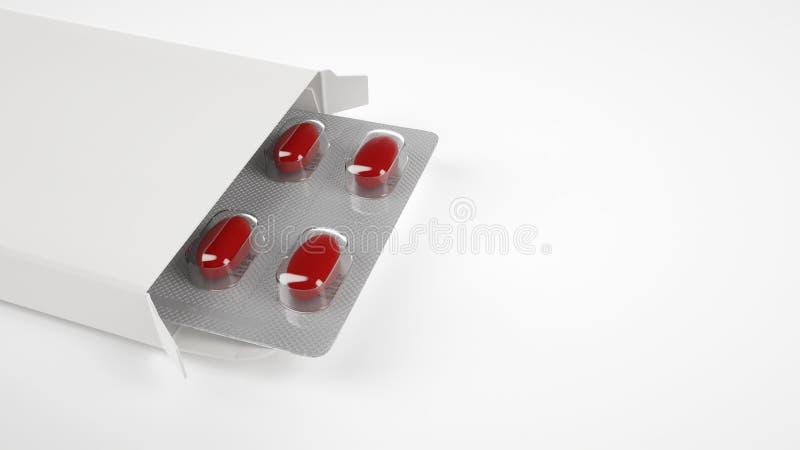 Boîte vide de pilule sur le fond blanc photographie stock