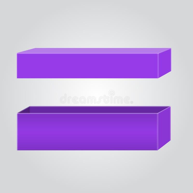 Boîte vide pour votre conception et logo de marquage à chaud Facile de changer des couleurs Couleur violette ou pourpre à la mode illustration libre de droits