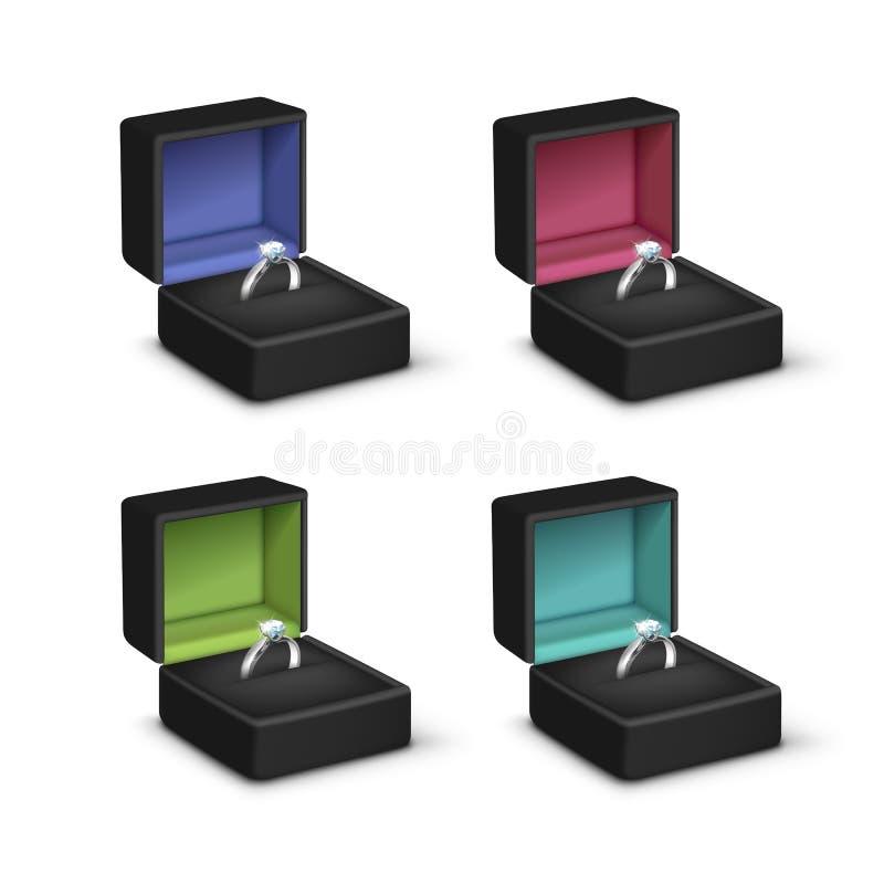 Boîtes à bijoux colorées par noir clair brillant argenté de diamants de bagues de fiançailles illustration stock